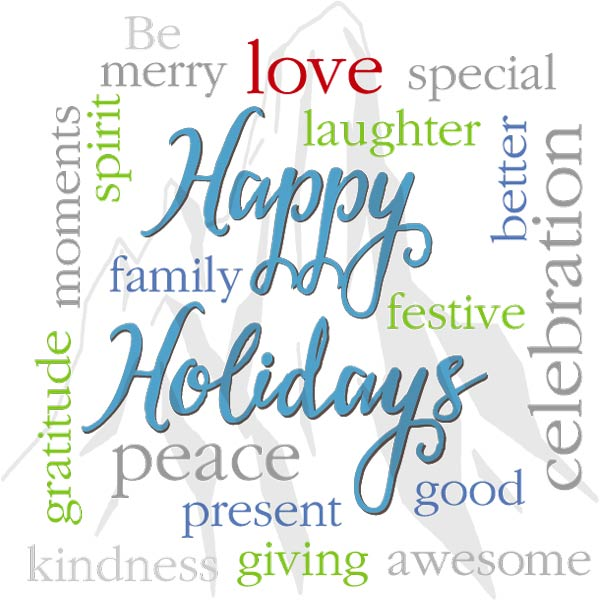 """Holiday gift card saying """"Happy Holidays"""" with inspiring words"""