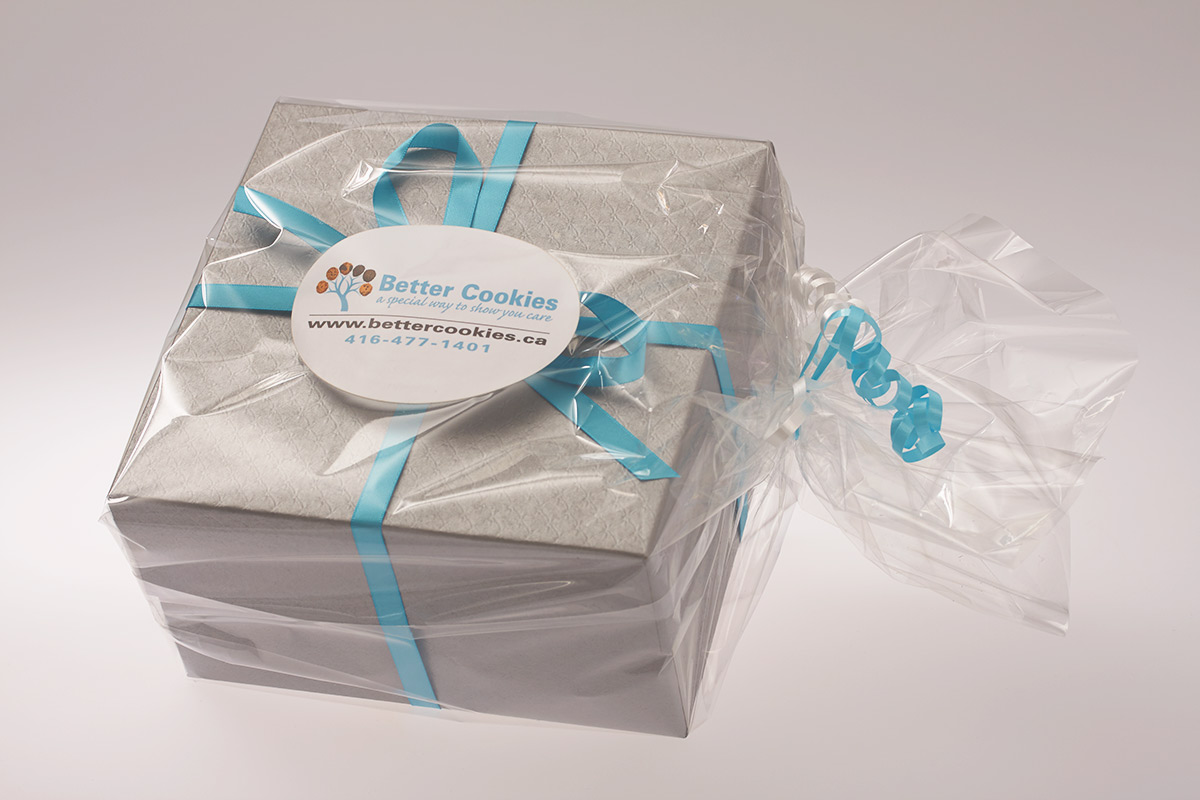 2 dozen cookie gift box with blue ribbon