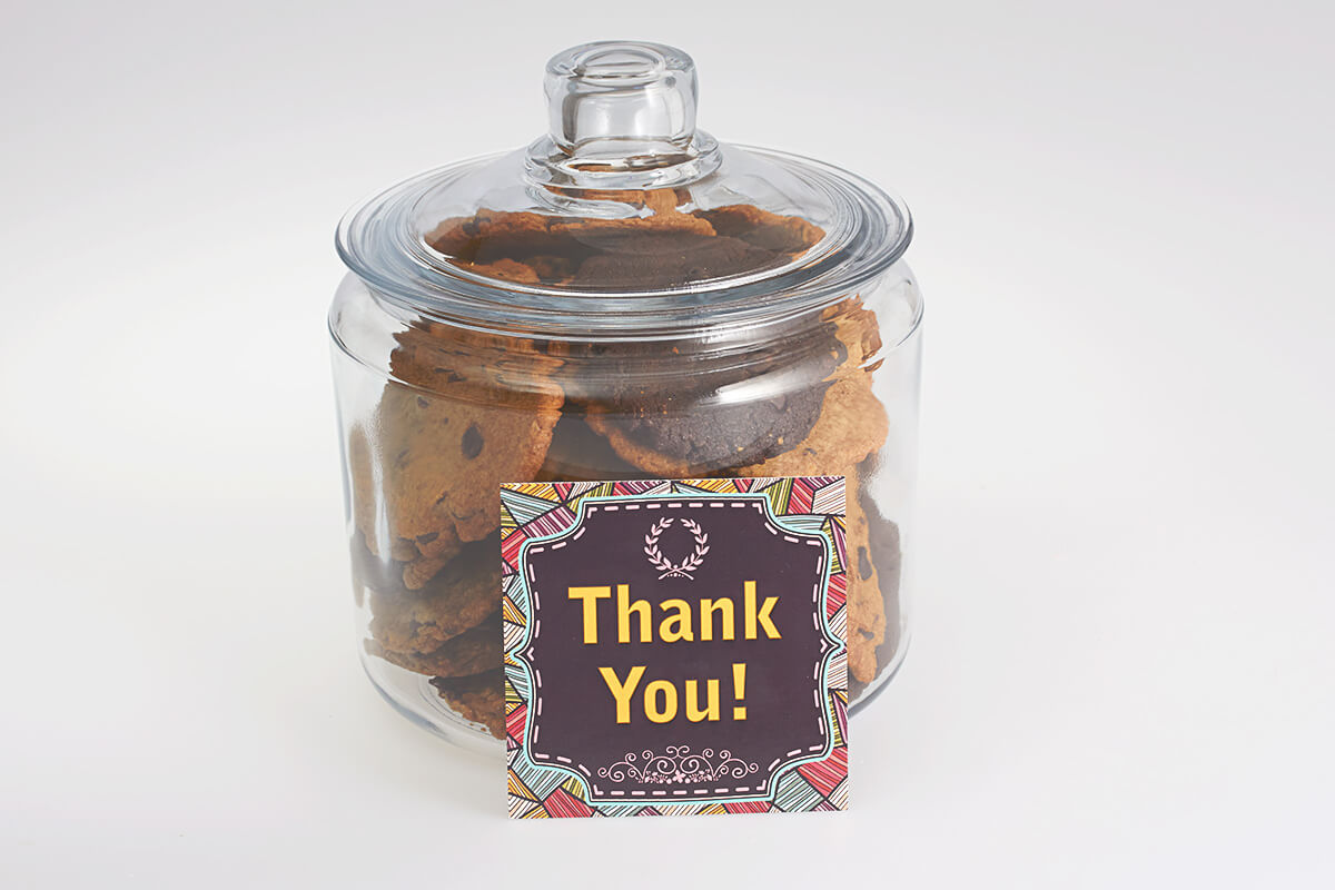 Thank-you Cookie Jar delivered in Burlington