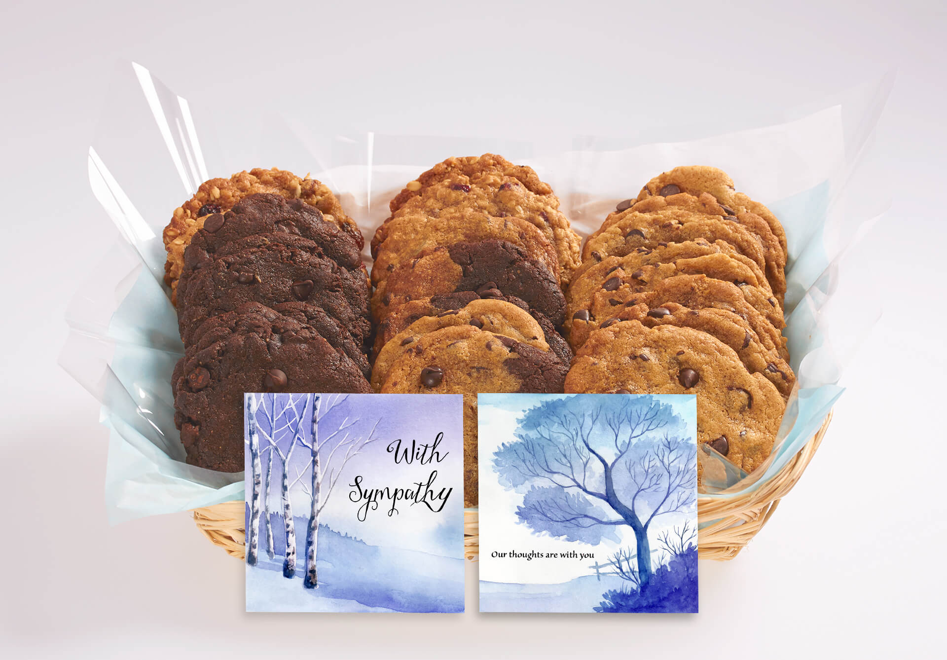 With sympathy cookie gift basket