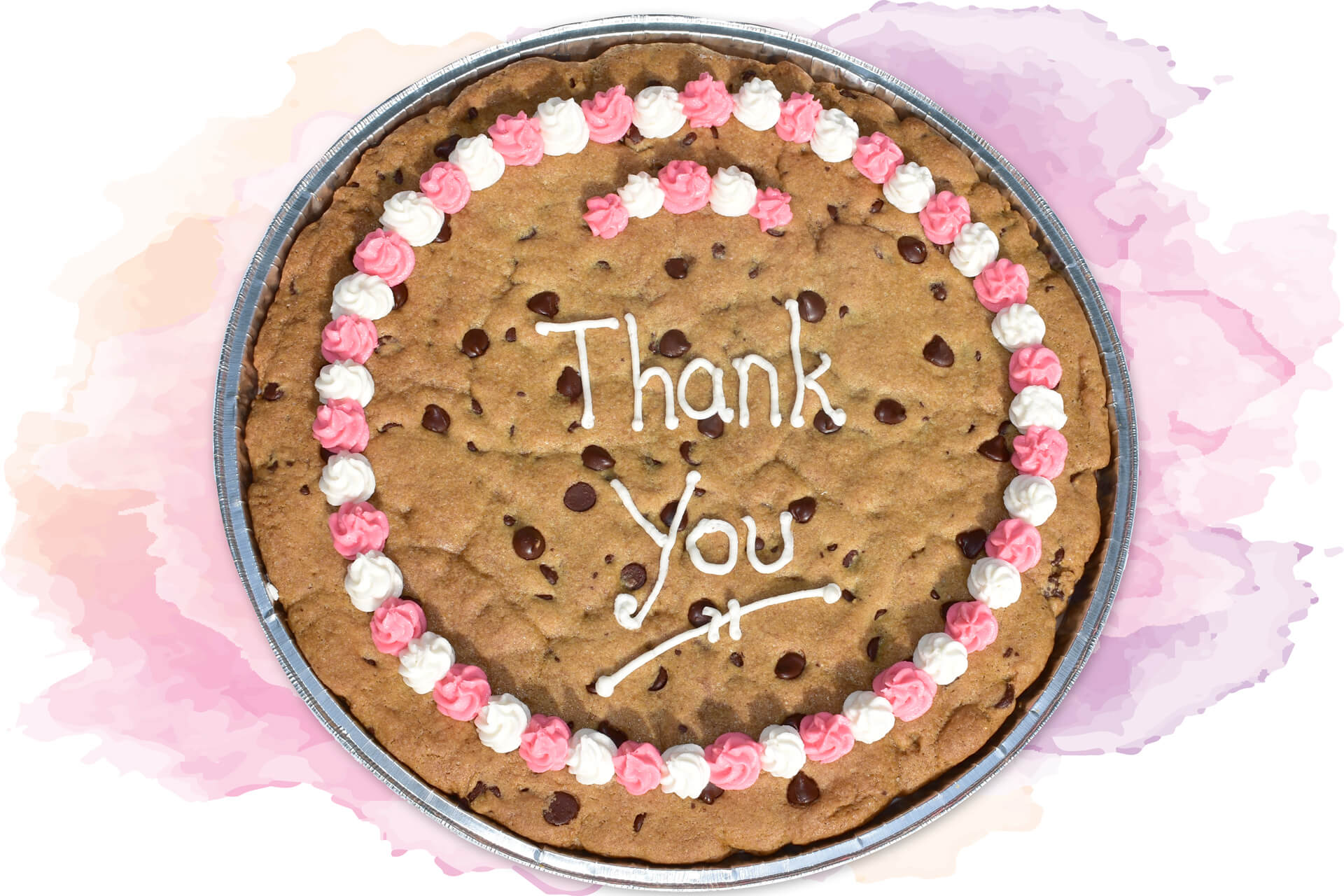 Thank You Cookiegram with Pink and White Border