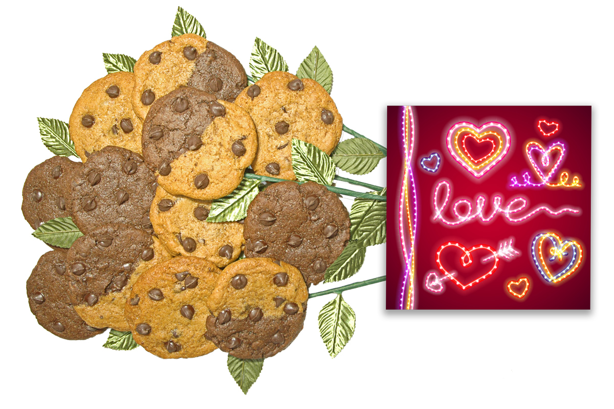 Glowing Heart and Love Cookie Flower Bouquet