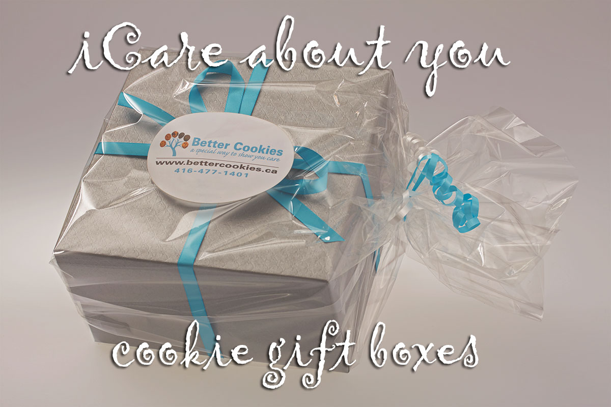 iCare Cookie Gift Boxes Canada - We deliver silver cookie boxes across Canada