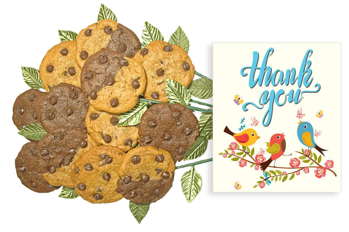 3 Birds Singing Thank You Cookie Flower Bouquet