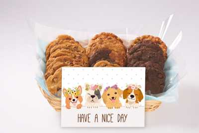 4 Happy Dogs Have A Nice Day Cookie Basket