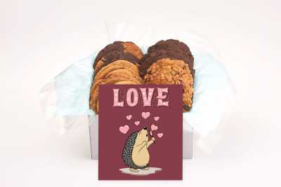 A Cute Hedgehog Love and Hearts Cookie Box