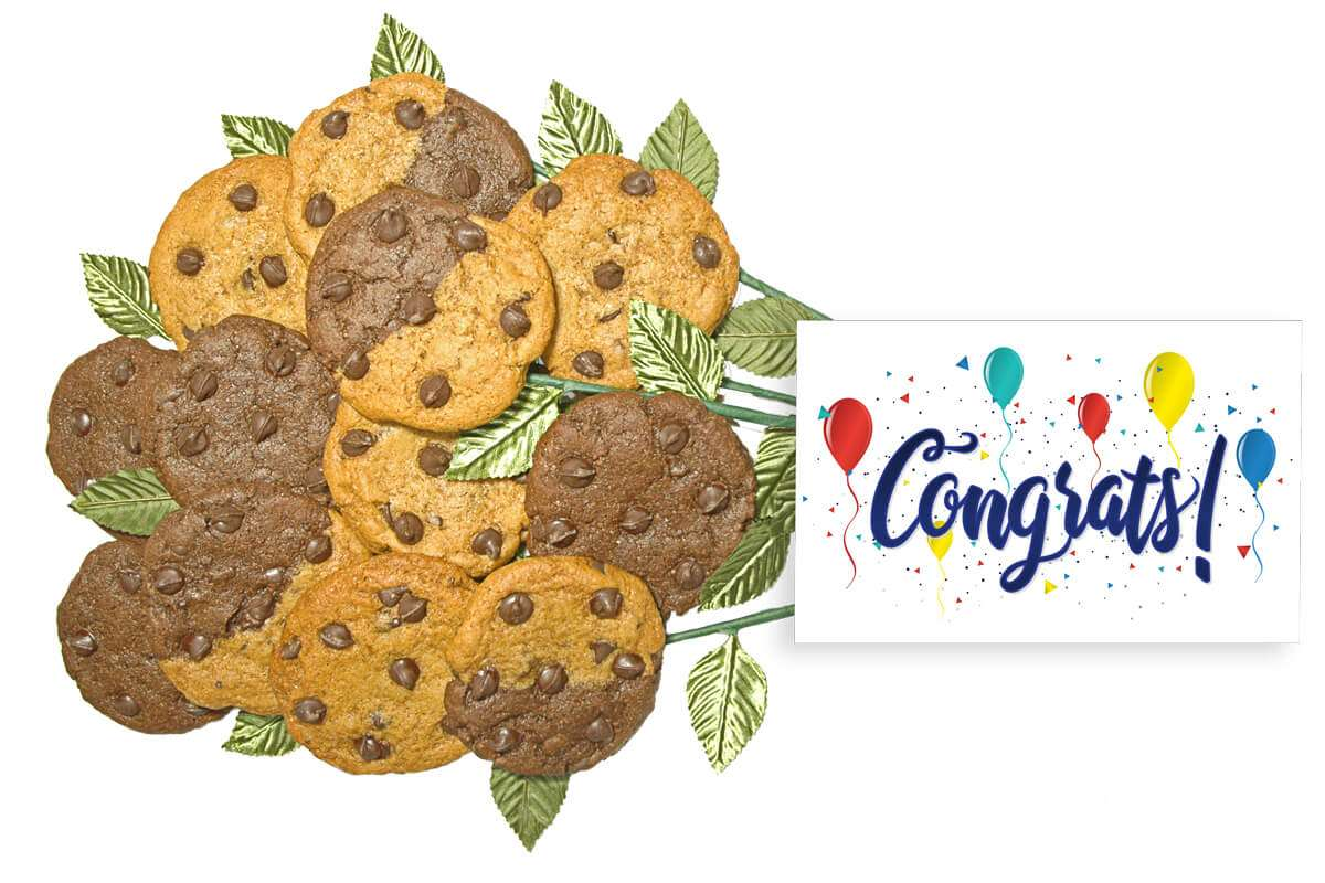 Balloons and Confetti Congrats Cookie Flower Bouquet