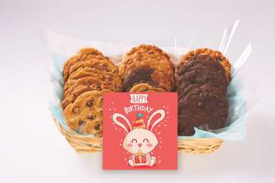 Bunny With Present Birthday Cookie Gift Basket