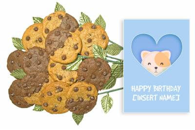Cute Cat Birthday Cookie Bouquet