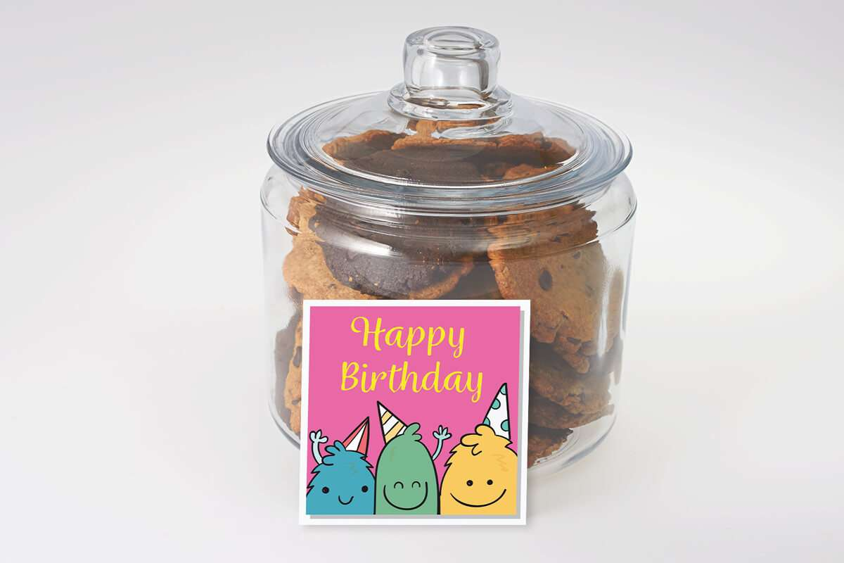 Cute Cookie Monster's Birthday Jar