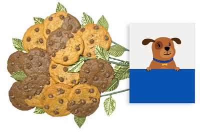 Dog with Blue Frame Cookie Gift Bouquet