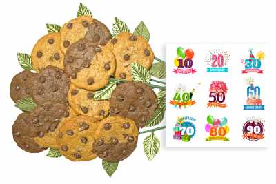 Fun Anniversary Numbers Cookie Flower Bouquet
