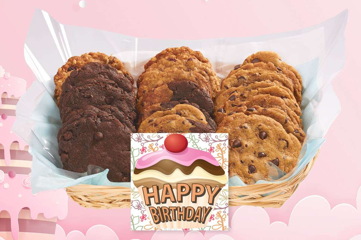 Happy Birthday Gift Basket With Our Gourmet Cookies