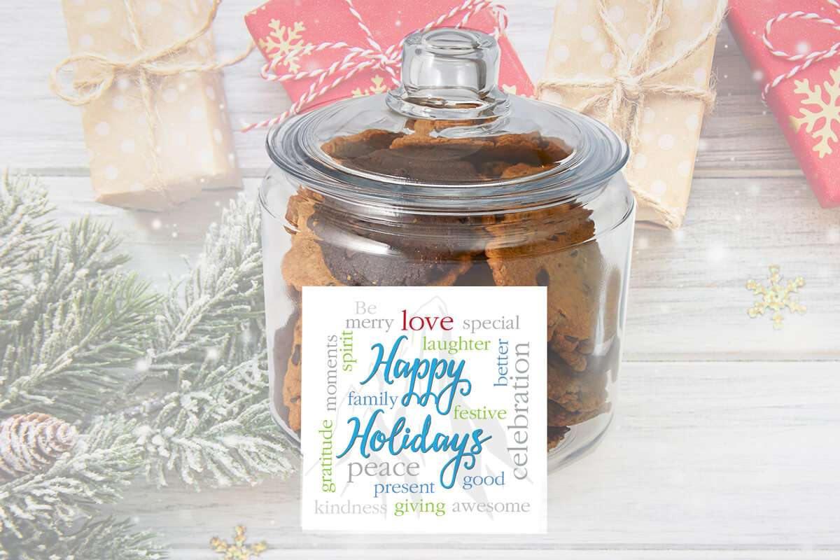 Happy Holidays Cookie Jar