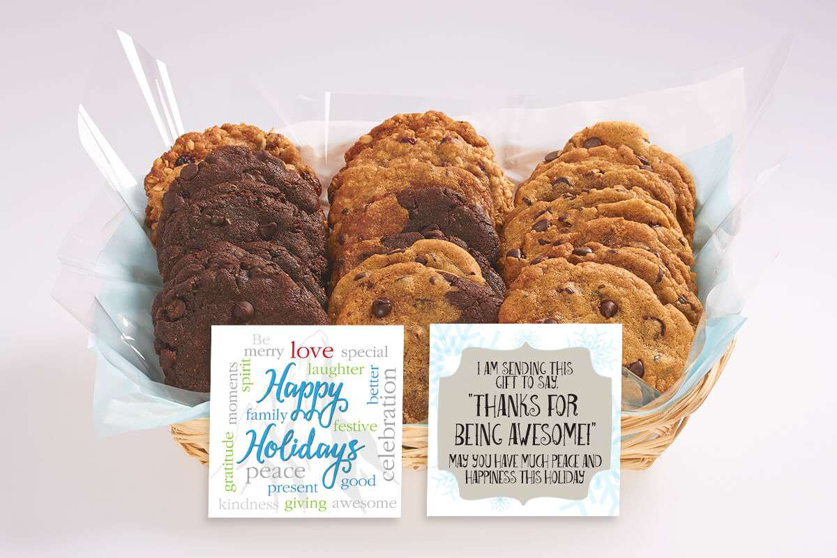 Happy Holidays Gift Basket With Our Gourmet Cookies
