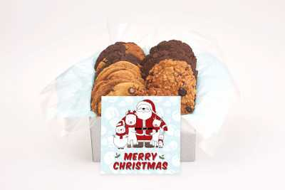 Smiling Santa with helpers Cookie Gift Box