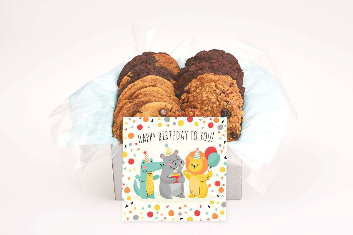 Lion, Hippo and Croc Birthday Cookie Gift Box