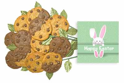 Pink Bunny Easter Cookie Gift Bouquet