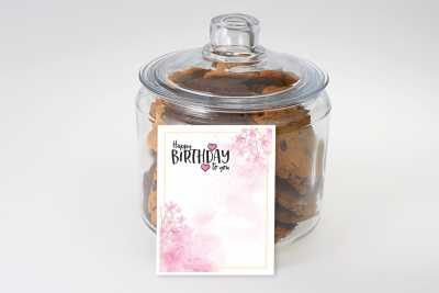 Pink Hearts and Flowers Birthday Cookie Jar