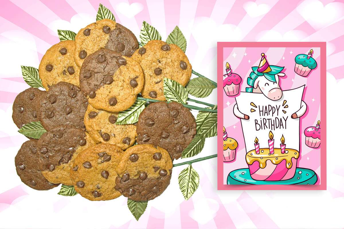 Pony Birthday Cookie Flower Bouquet