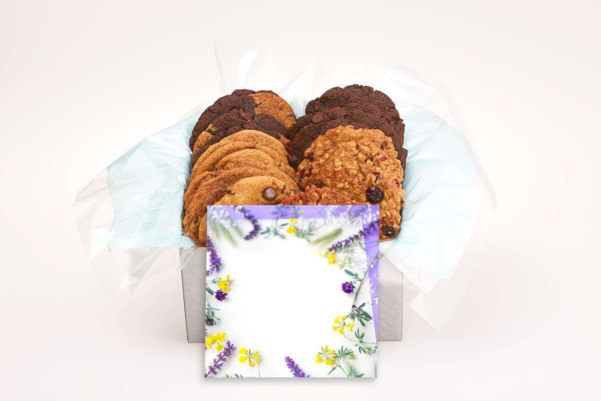 Purple and Yellow Flowers Cookie Gift Box