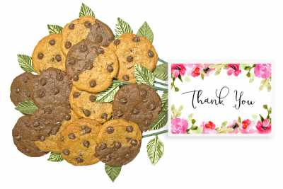 Thank You Pink and Red Cookie Flower Bouquet